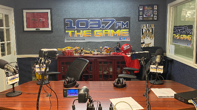 The 103.7 The Game studio was empty this week as local show hosts broadcasted from home as Delta Media properties  began practicing social distancing due to COVID-19. — Photo by Louis Prejean