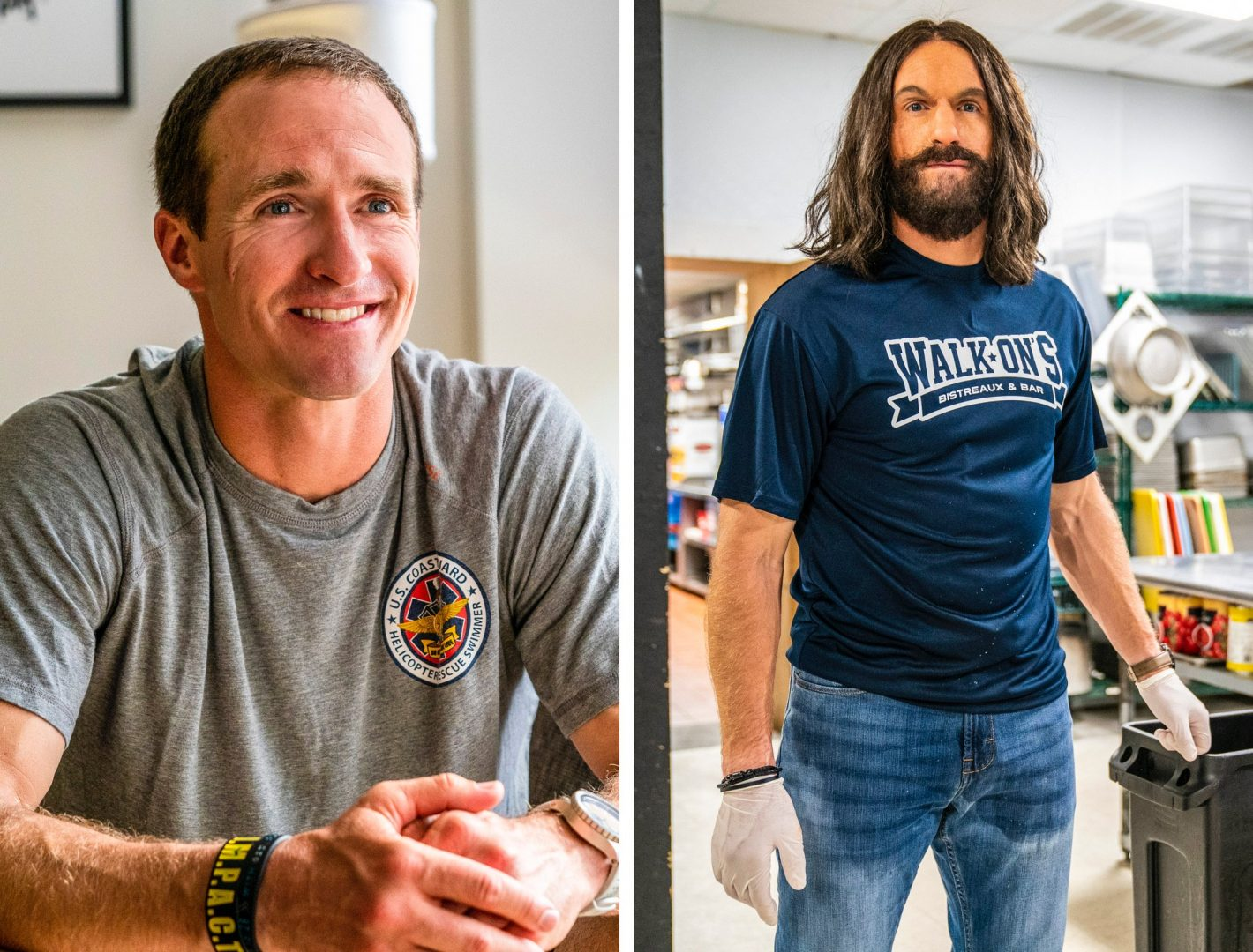 New Orleans Saints Quarterback Drew Brees before and after on Undercover Boss